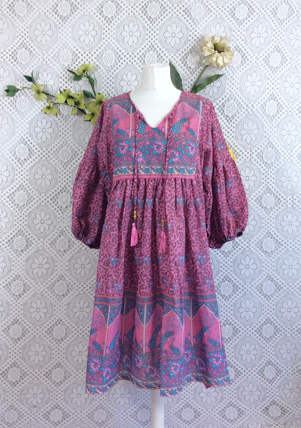 Pink/Blue/Grey Peacock Paisley Floral - Short Smock Dress - Size S/M