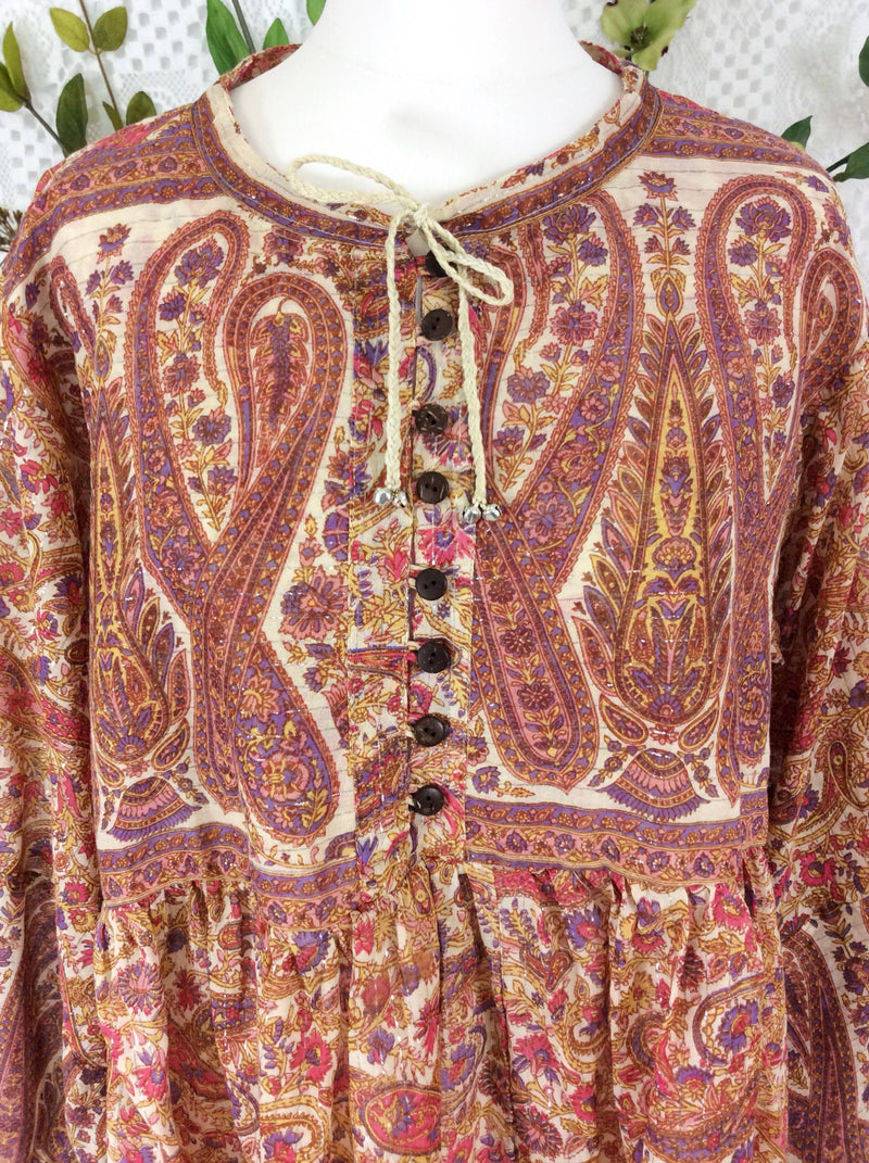 Florence Gypsy Smock Top - Ivory Amethyst & Rose Paisley Floral Silver Sparkly Thread (XS)