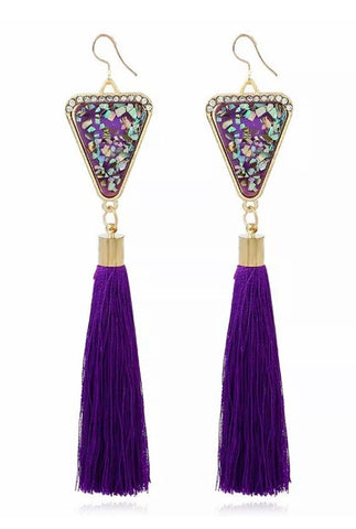 Purple boho tassle earrings