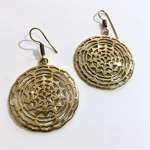 Gold Coloured Medalion Earrings