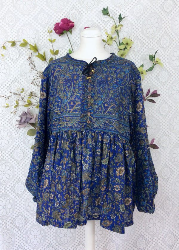 Florence Gypsy Smock Top - Blueberry & Sage Paisley Floral Copper Sparkly Thread (XS)