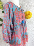 Aqua / Pink / Coral Indian Peacock Paisley Smock Top - Cotton - Size S/M