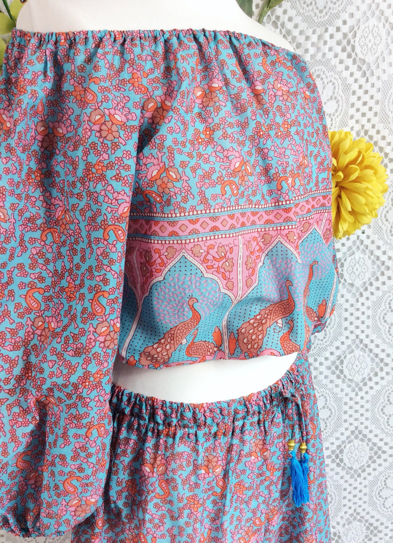 Handmade tops-Aqua/Pink/Coral Paisley Peacock Indian Cotton Gypsy Top (Free Size)-vintage clothing brighton