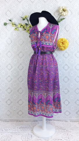 SALE - Purple/Blue Peacock Sleeveless Midi Smock Dress - Size M/L