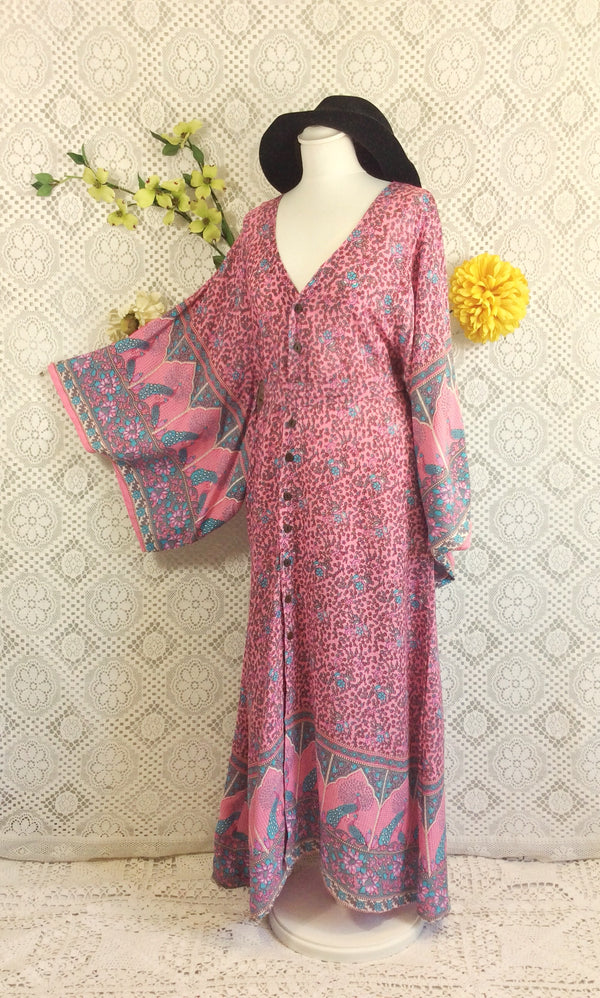 Pink/Blue/Grey Peacock Paisley Cotton - Maxi Button Down Dress/Kimono - M/L