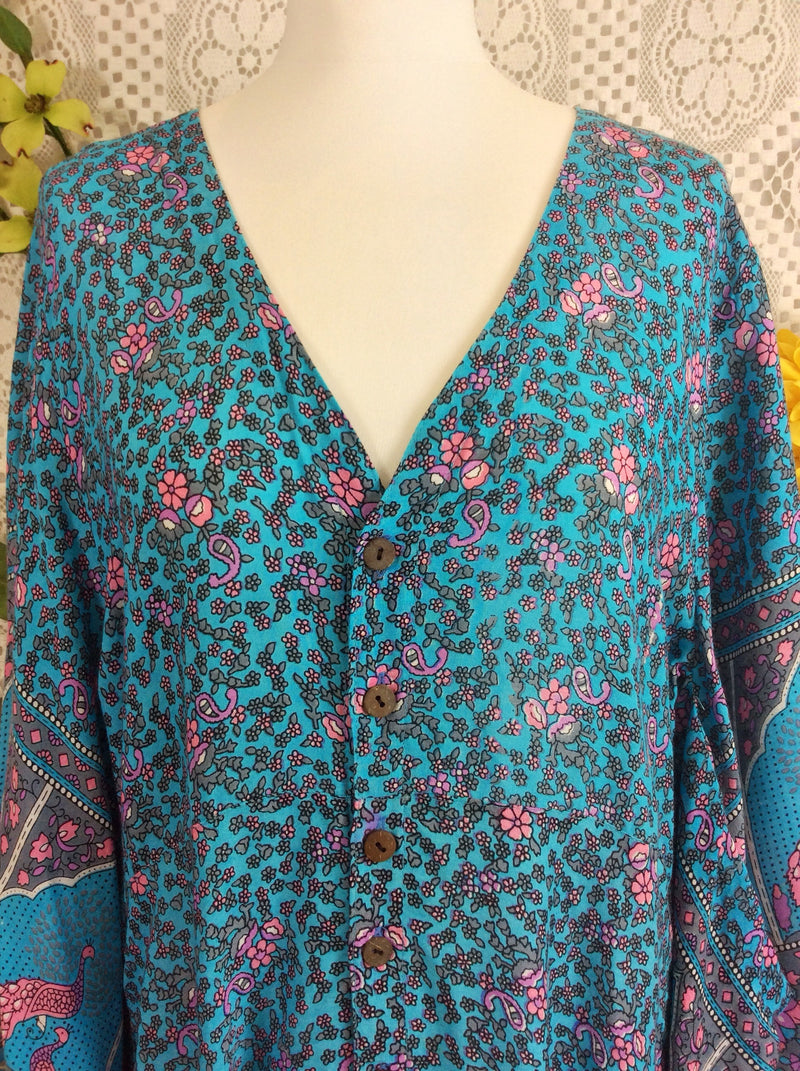 Blue & Pink Peacock Floral Maxi Button Down Dress/Kimono Size M/L