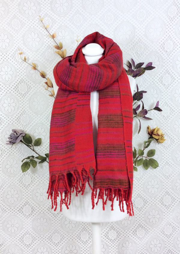 Crimson Amber & Pink Striped Indian Shawl/Blanket