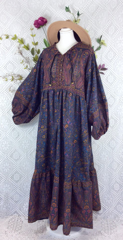 Florence Dress - Sparkly Indian Cotton Smock Dress - Slate Grey/Blue Floral - Size XL
