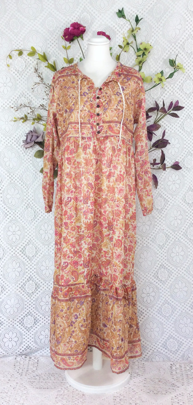 Florence Dress - Sparkly Indian Cotton Smock Dress - Pink Cream & Mauve - Size XS