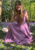 Vintage 70s Lilac Floral Ruffle Neck Summer Maxi Dress - Size - XS