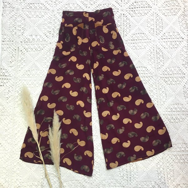 High Waisted Flares with Pockets - Vintage Indian Sari - Bold Burgundy Paisley - S/M