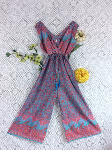 Indian Peacock Sleeveless Jumpsuit - Aqua/Pink/Coral - Size S/M