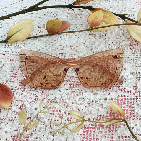 Soft Sepia Cat Eye Sunglasses