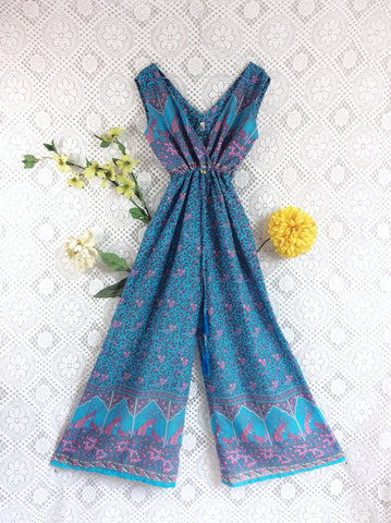 Indian Peacock Sleeveless Jumpsuit - Aqua Blue / Grey / Pink- Size M/L