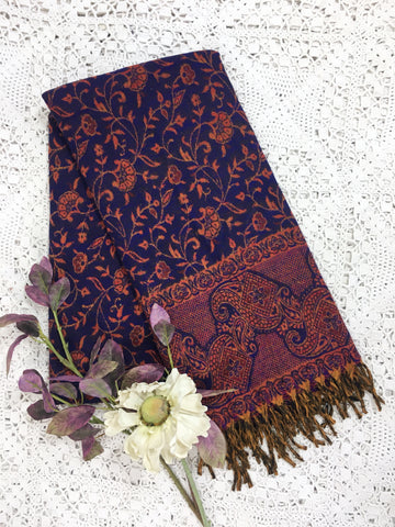 Indigo & Fire Floral Reversible Indian Shawl/Blanket