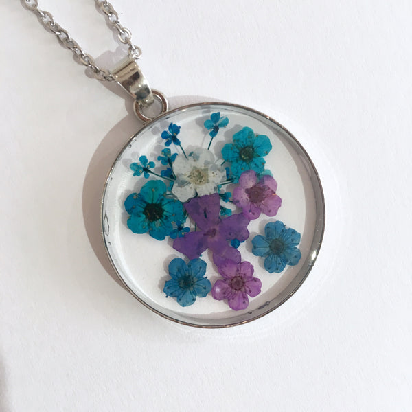 Round Dried Flower Necklace -  Small Mixed Flowers