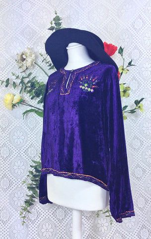 Vintage Velvet Embroidered Long Sleeve Top - Deep Purple - Size S/M