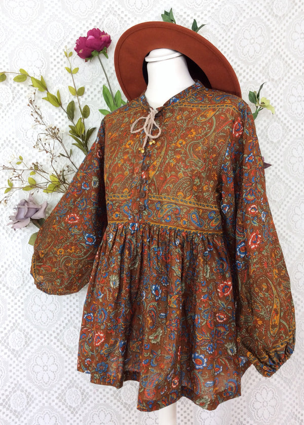 Florence Gypsy Smock Top - Chestnut Fire & Cobalt Paisley Floral Copper Sparkly Thread (XS)