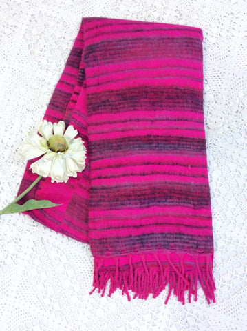 Fuchsia Pink & Slate Grey Striped Indian Shawl/Blanket