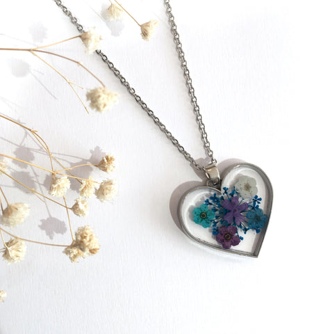 Heart Dried Flower Necklace -  Small Mixed Flowers