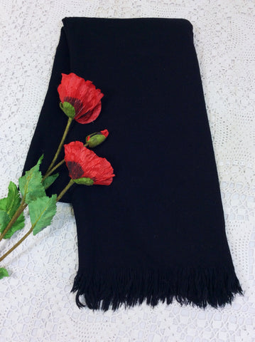 Ebony Black Wool Shawl/Blanket