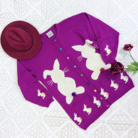 Vintage Knitted Cardigan - Magenta & White Rabbits - Free Size