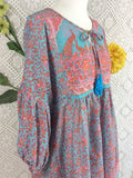 Aqua / Pink / Coral Peacock Paisley Floral - Short Smock Dress - Size S/M