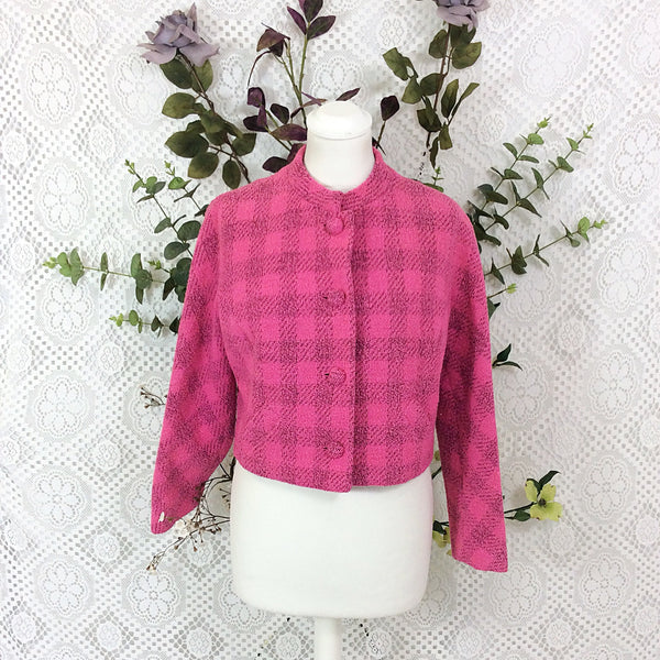 SALE Vintage Rouge Pink & Black Chequered Jacket - Size S