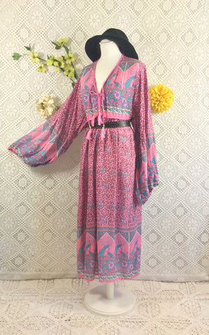 Pink/Blue Peacock Midi Smock Dress - Size M/L