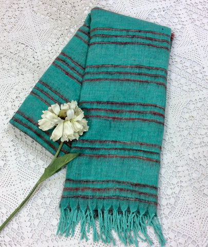 Scarf and Shawl -Aqua Blue/Red Striped Indian Shawl/Blanket-vintage jewellery and accessories brighton-worldwide delivery