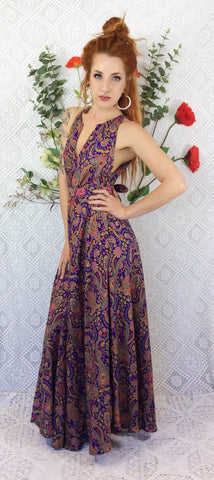 Siren Sleeveless Maxi Dress - Vintage Sari Silk Mix - Paisley - Free Size
