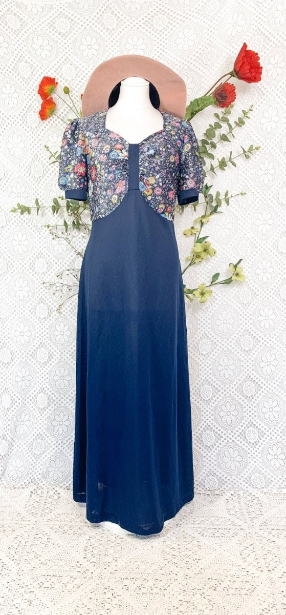 Vintage 70s Navy Sparkly Floral Top Maxi Dress - Size - S - M