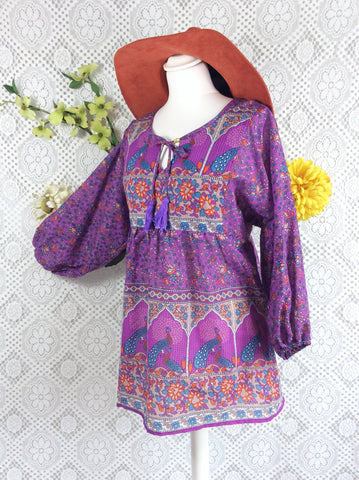 Purple / Blue / Orange Indian Peacock Paisley Smock Top - Cotton - Size S/M