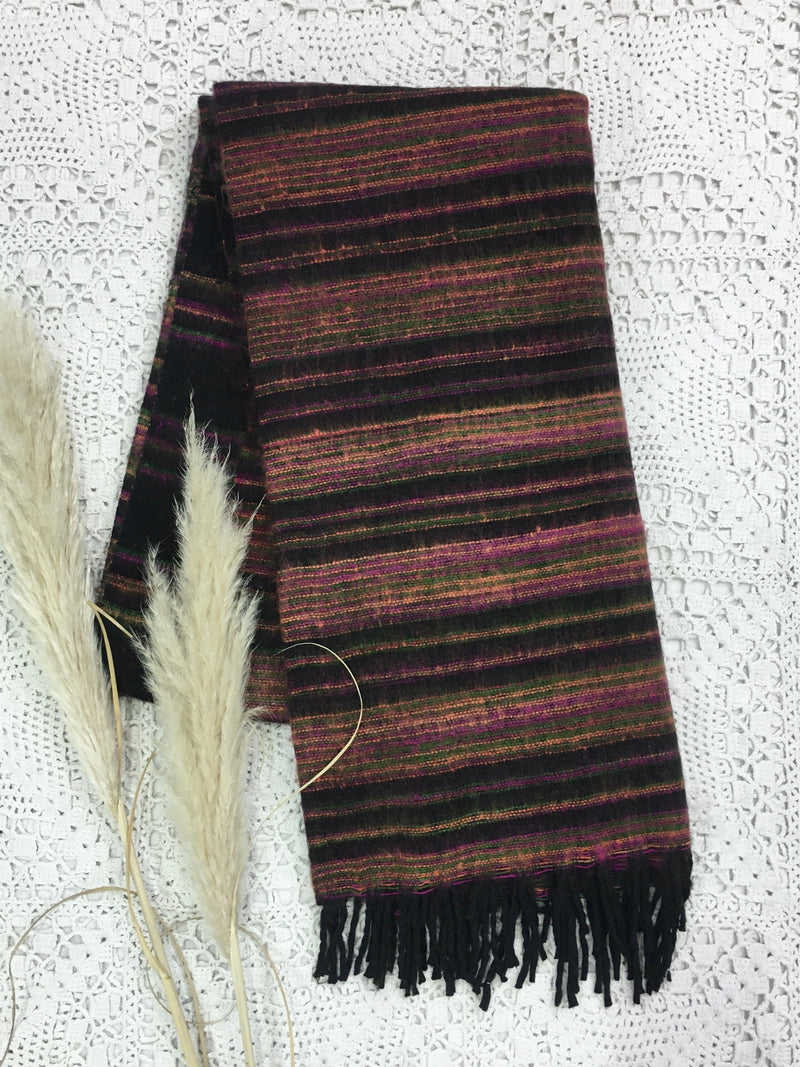 Midnight, Pink, Yellow & Green Reversible Stripe Indian Shawl/Blanket