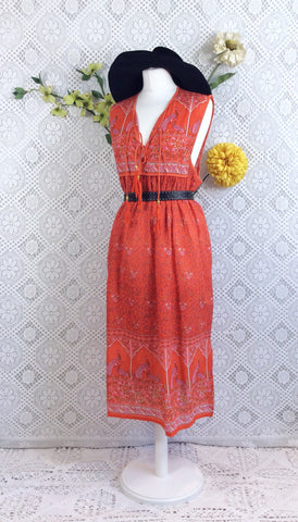 SALE - Coral Orange Peacock Sleeveless Midi Smock Dress - Size S/M