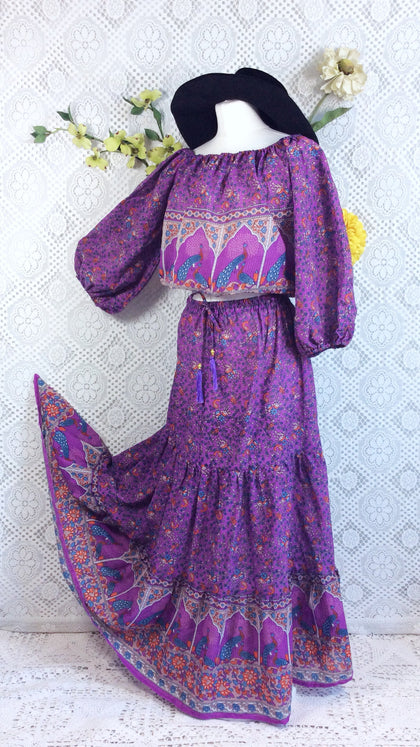 Purple Peacock Paisley Floral Cotton 2 Piece (Free Size) - Top & Skirt