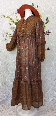 Florence Dress - Sparkly Indian Cotton Smock Dress - Chestnut & Cobalt Floral Paisley - Size M/L