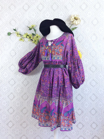 Purple and Blue Peacock Paisley Floral - Short Smock Dress - Size S/M