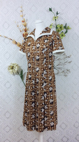 SALE - Vintage 60s dress - Brown & Cream Geometric Floral (S)