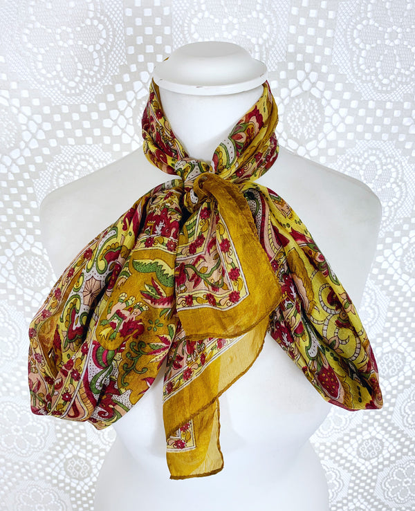 Pure Silk Indian Scarf - Gold & Red