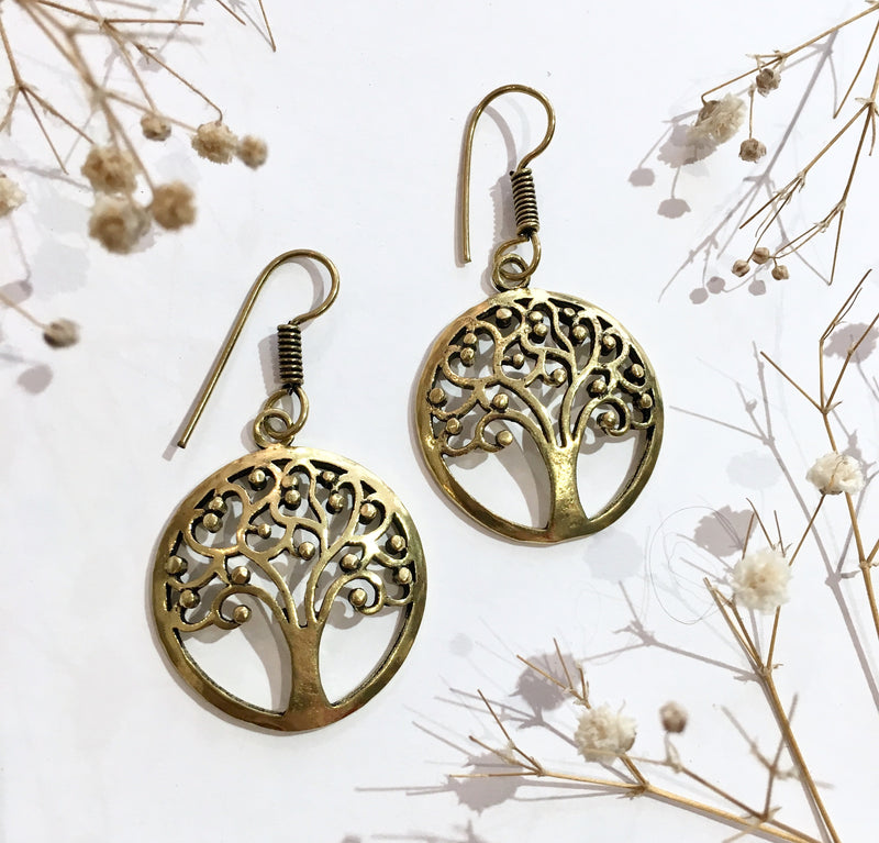 Gold Colour Brass Tree of Life Earrings