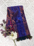 Indigo & Orange Multicolour Floral Paisley Indian Shawl/Blanket