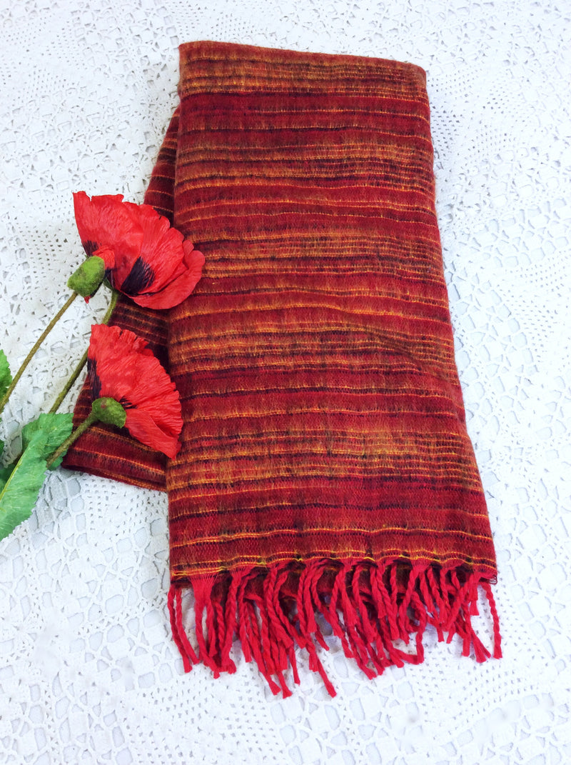 Garnet & Black & Yellow Reversible Stripe Indian Shawl/Blanket