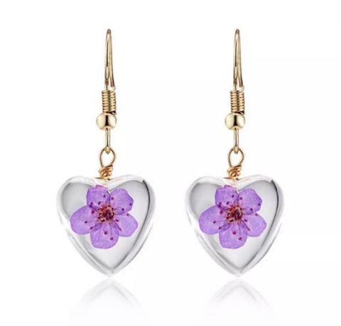 Lilac dried flower gold plated earrings