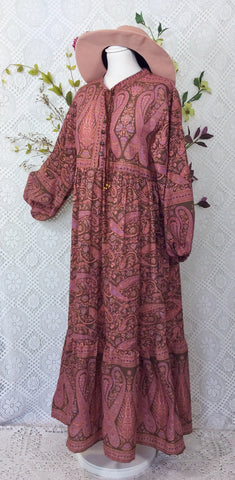 Florence Dress - Sparkly Indian Cotton Smock Dress - Cedar & Rose Floral Paisley - Size S/M