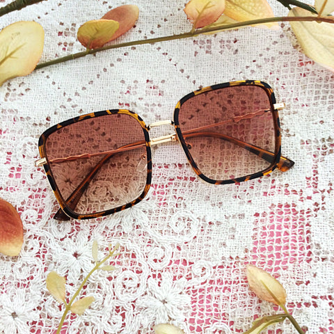 Square Tortoise Shell & Gold Sunglasses