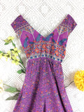 Indian Peacock Sleeveless Jumpsuit - Purple / Blue - Size M/L