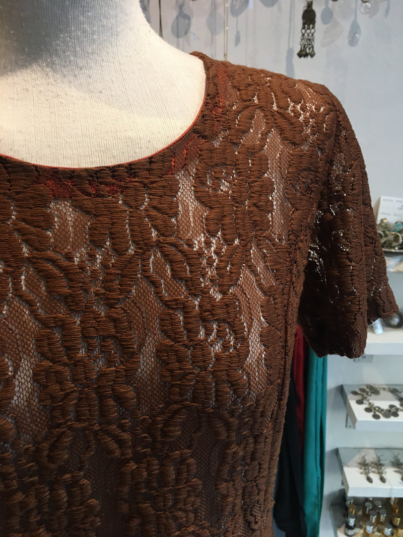 Pecan Brown Lace Shift Dress - Free size S/M