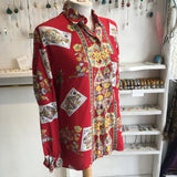 Vintage King of Clubs Floral Red Shirt - Free Size
