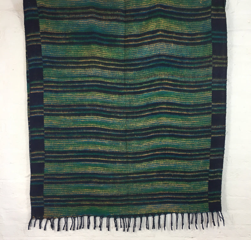 Navy & Sea Blue Green Reversible Stripe Indian Shawl/Blanket